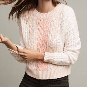 Anthropologie Sleeping On Snow Cabled Pullover